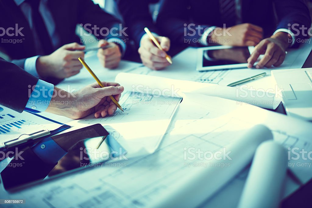 Project discussion stock photo
