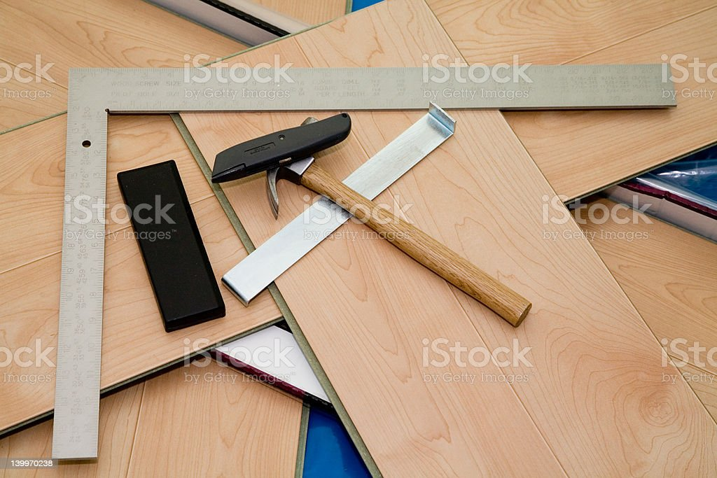 DIY project: laminate floor and tools used royalty-free stock photo