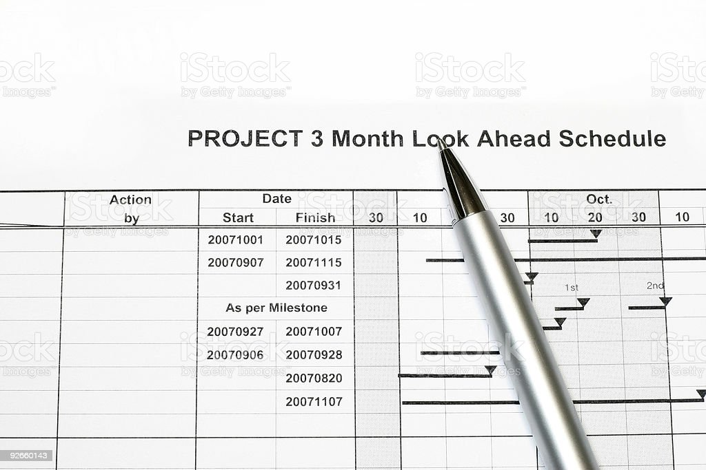Project Look Ahead Schedule royalty-free stock photo