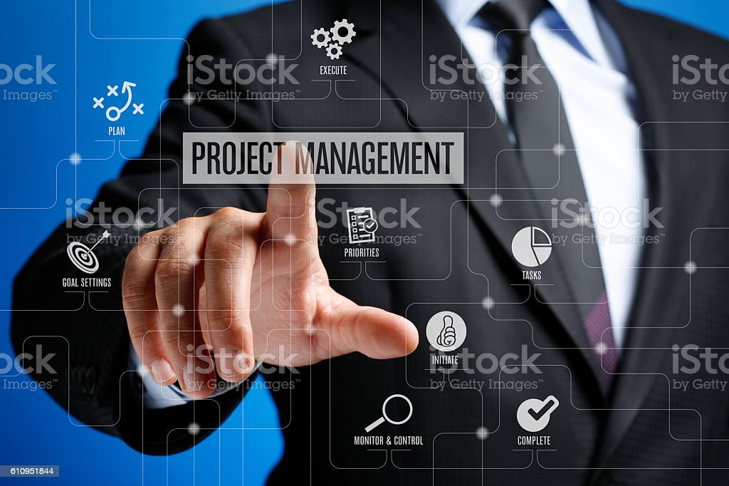 Project Management Concept on Interface Touch Screen stock photo
