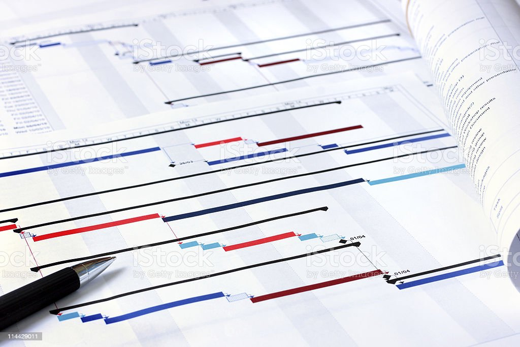 Project planning documents stock photo