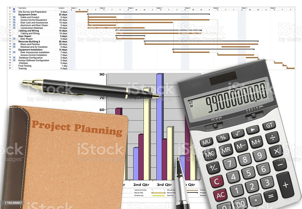 Project schedule analysis with pen, calculator & recycle notebook stock photo