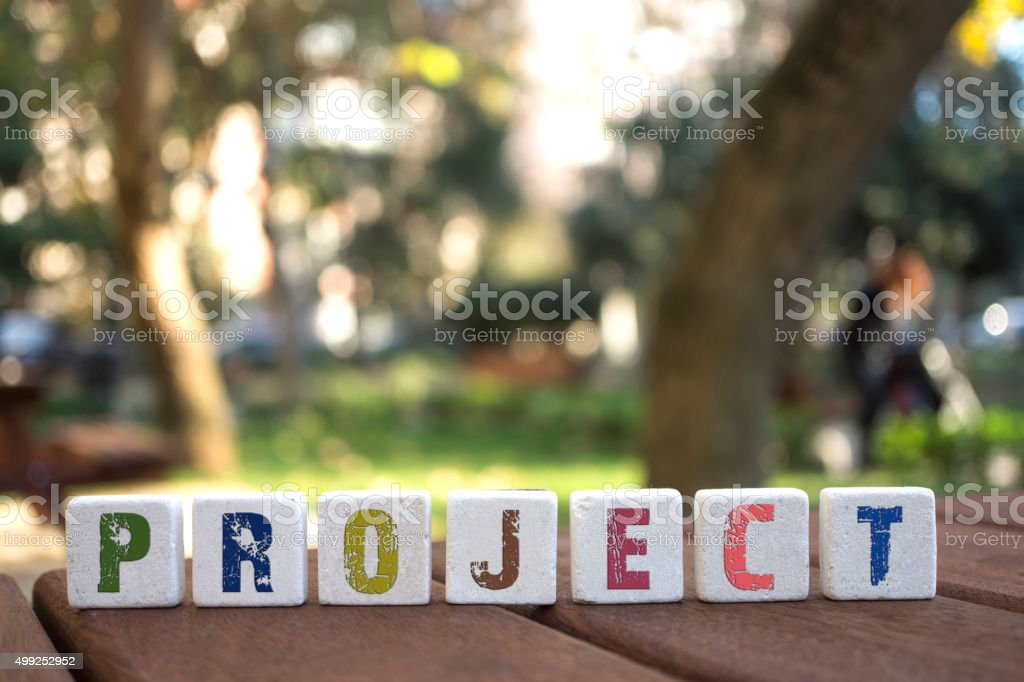 Project , Word with Alphabet Blocks stock photo