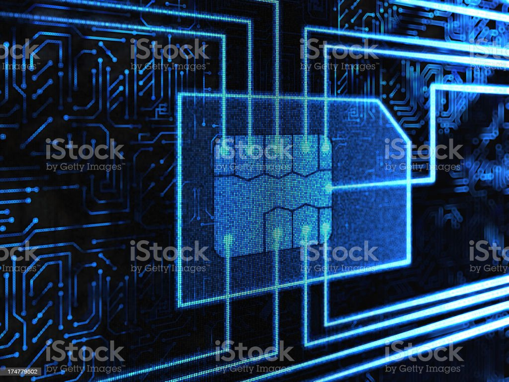 Projected image of SIM card in a circuit board vector art illustration