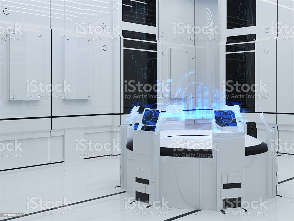 Projection hologram sector City stock photo