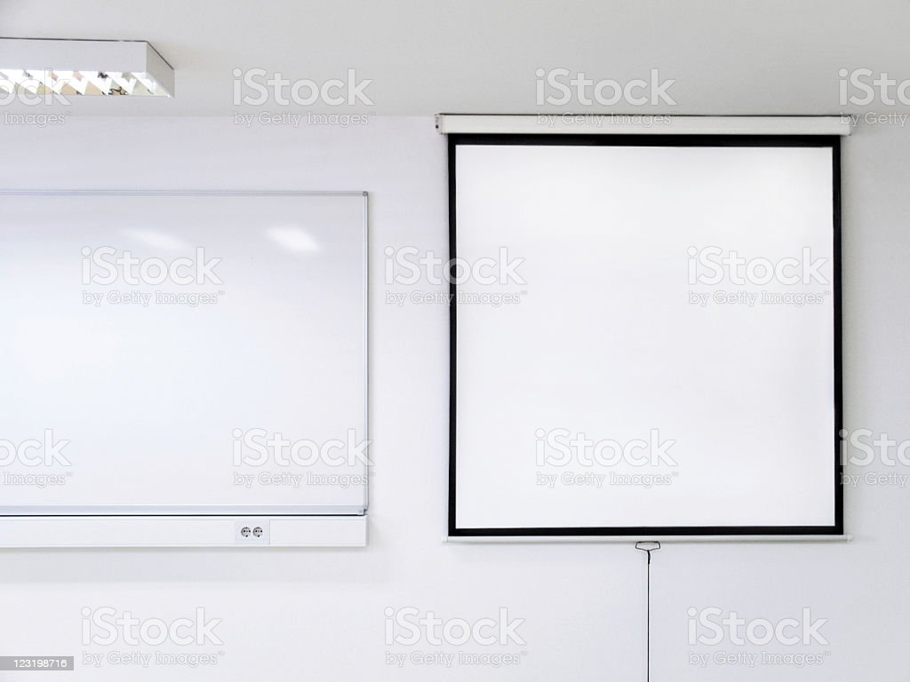 Projection Screen and Whiteboard In Classroom royalty-free stock photo
