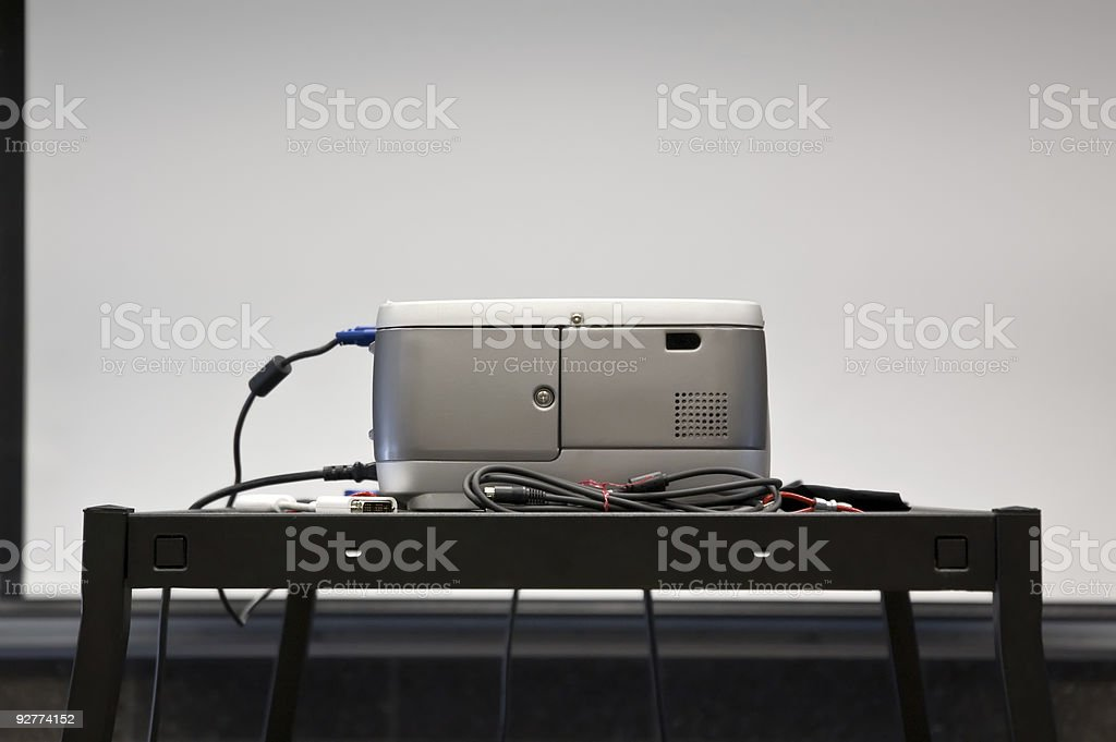 projector and screen. royalty-free stock photo