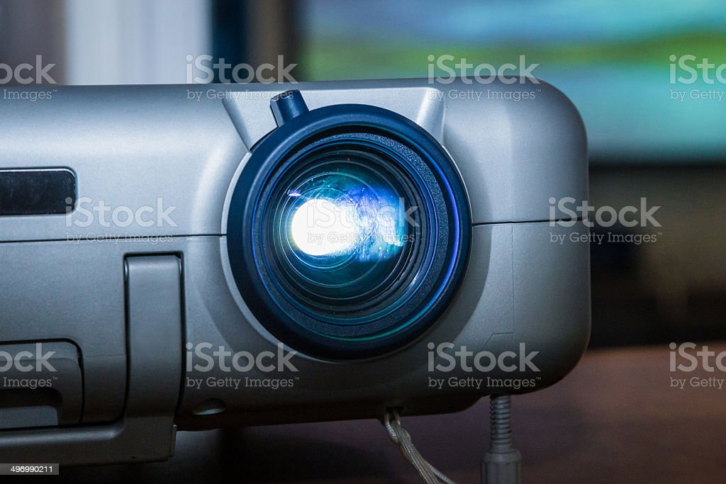 Projector on office table stock photo
