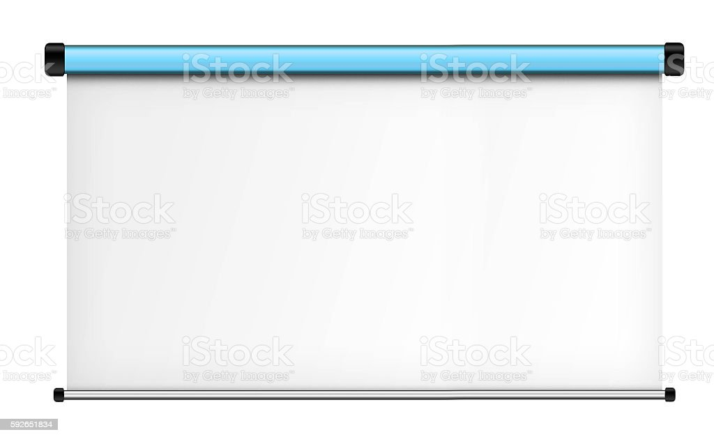 Projector screen isolated on white background. stock photo