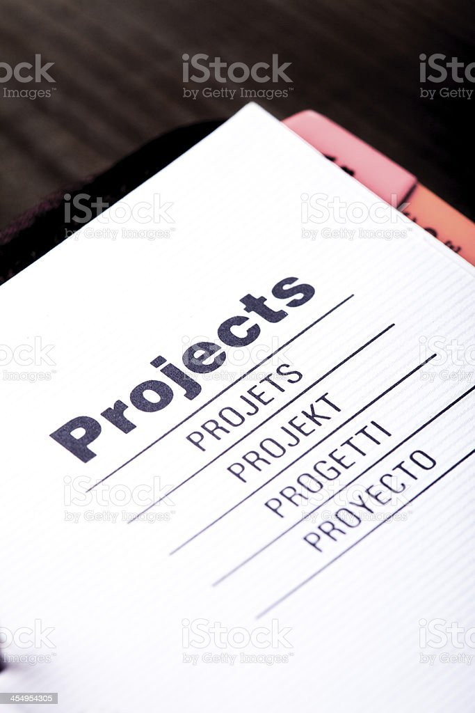 Projects organizer stock photo
