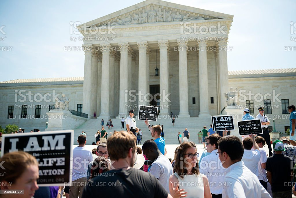 Pro-life supporters at U.S. Supreme Court stock photo