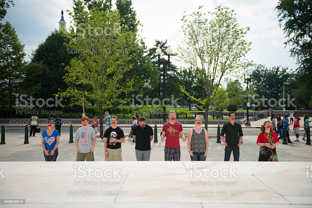 Pro-life supporters praying at U.S. Supreme Court stock photo
