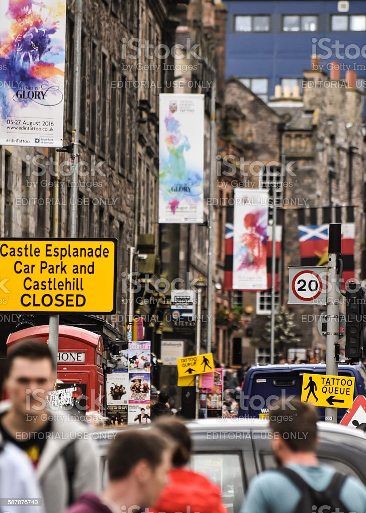 Proliferations of street signs in Edinburgh due to festivals. stock photo
