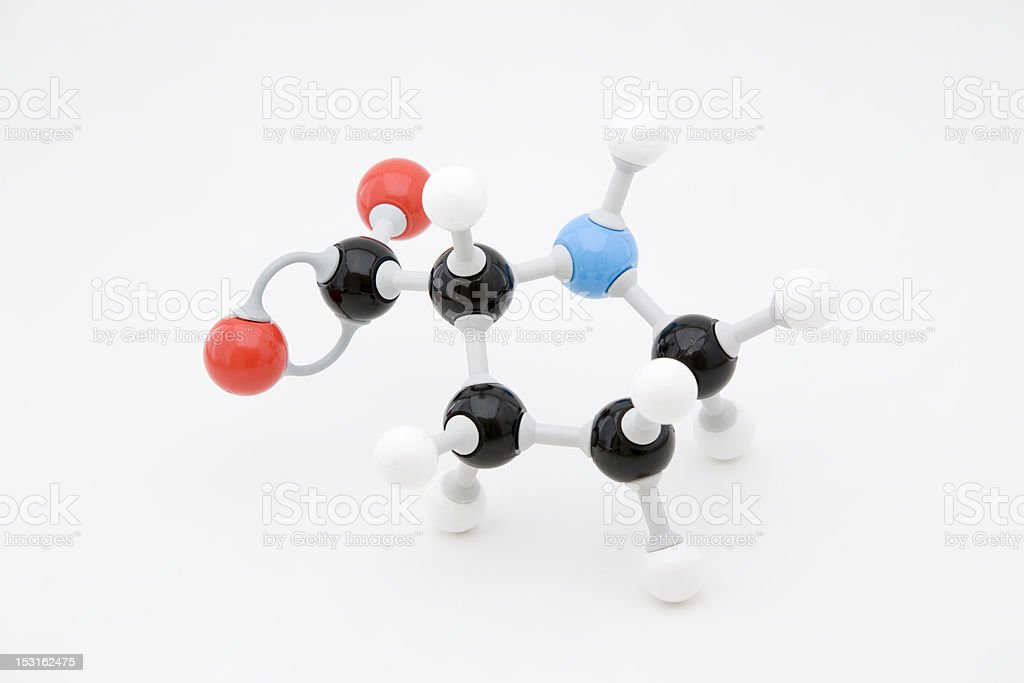 Proline Amino Acid Molecule royalty-free stock photo