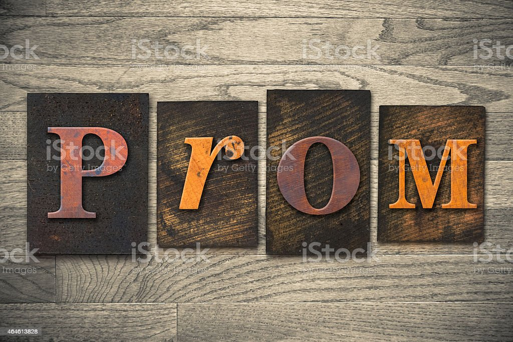 Prom Concept Wooden Letterpress Type stock photo