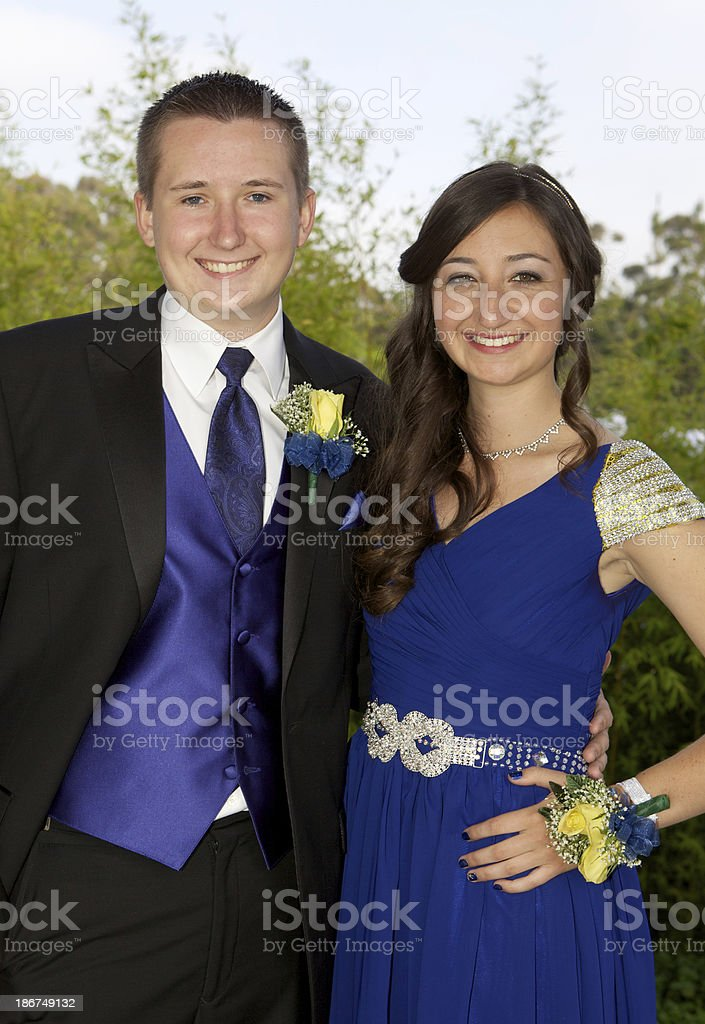 Prom Couple Smiling Outdoors Blue Dress royalty-free stock photo