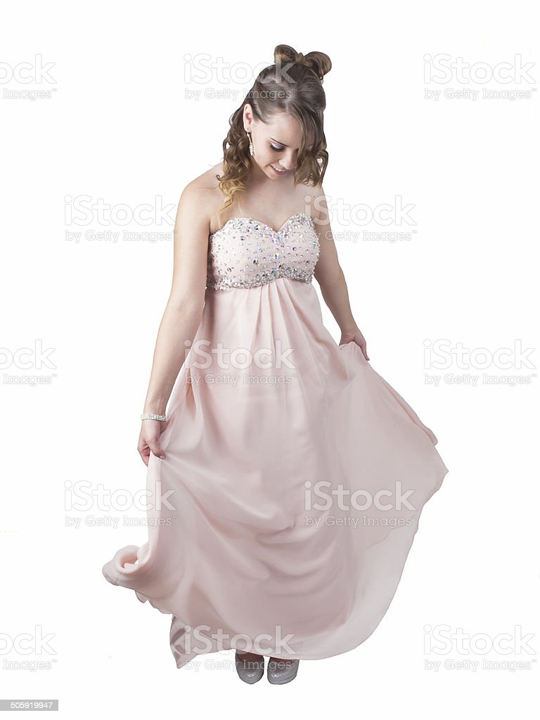 Prom Dress twirl stock photo