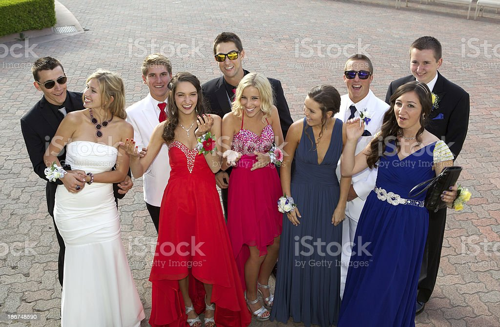 Prom Photo Large Group of Teenagers Having Fun Outdoors royalty-free stock photo