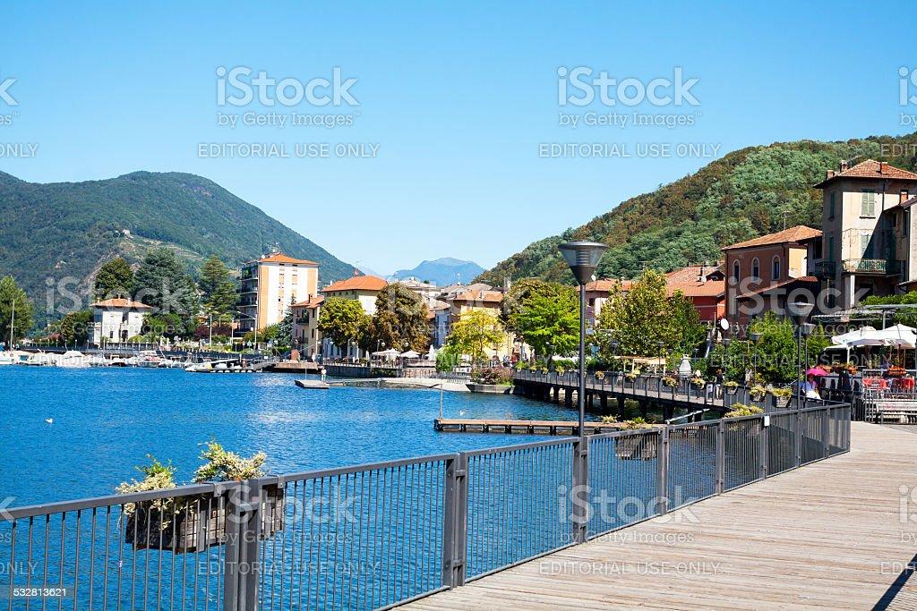 Promenade and boardwalk of Porto Ceresio stock photo