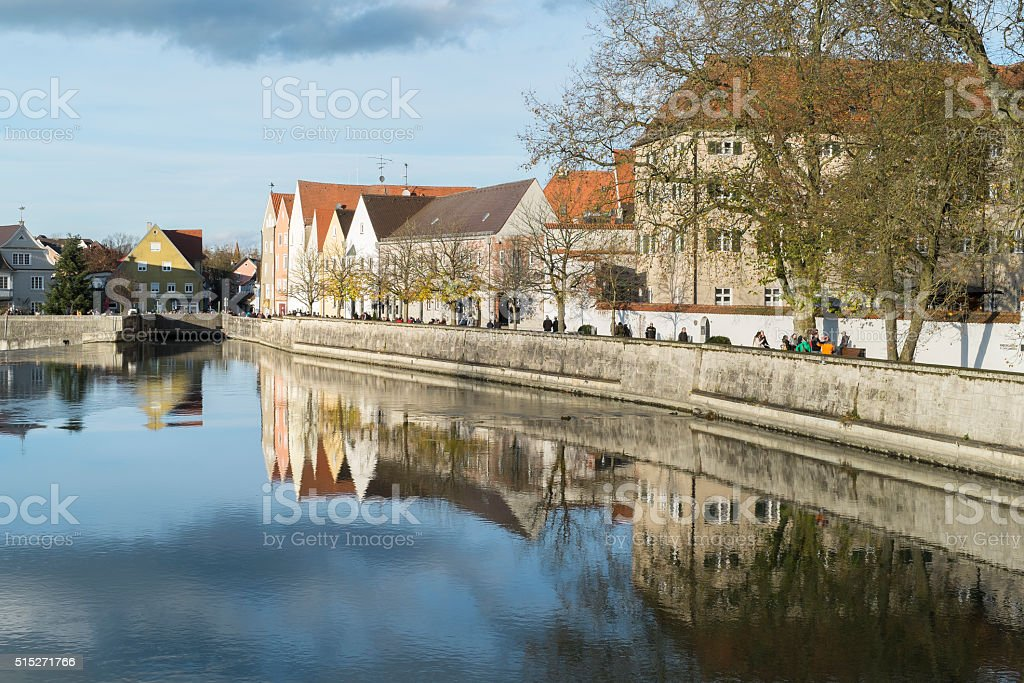 Promenade and historic buildings in Landsberg at Lech river stock photo