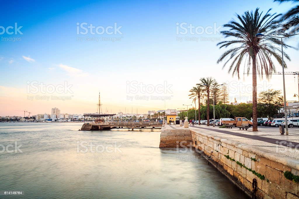 Promenade and marina on Arade River in Portimao, Portugal stock photo