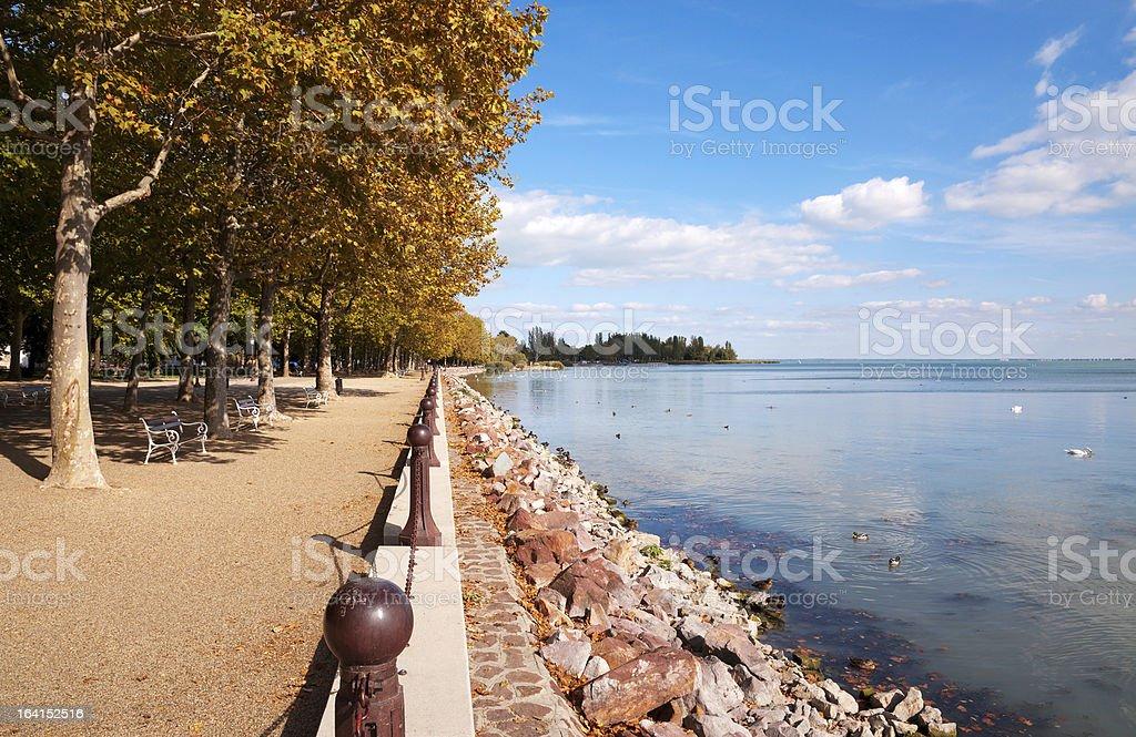 Promenade at Lake Balaton, Hungary royalty-free stock photo