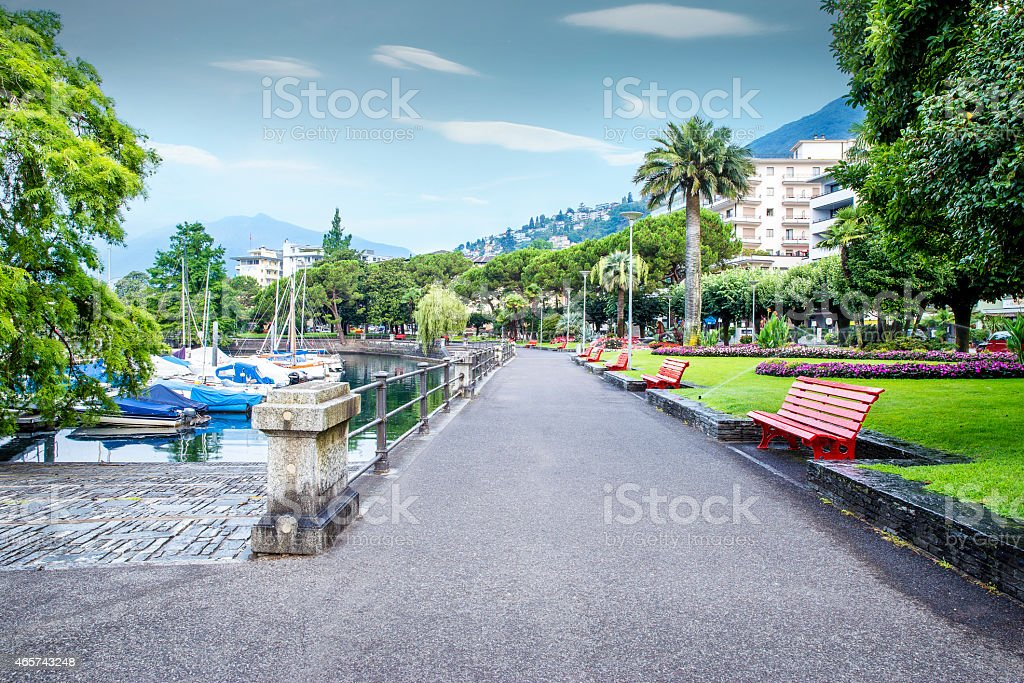Promenade at the lake in Locarno city, Switzerland stock photo