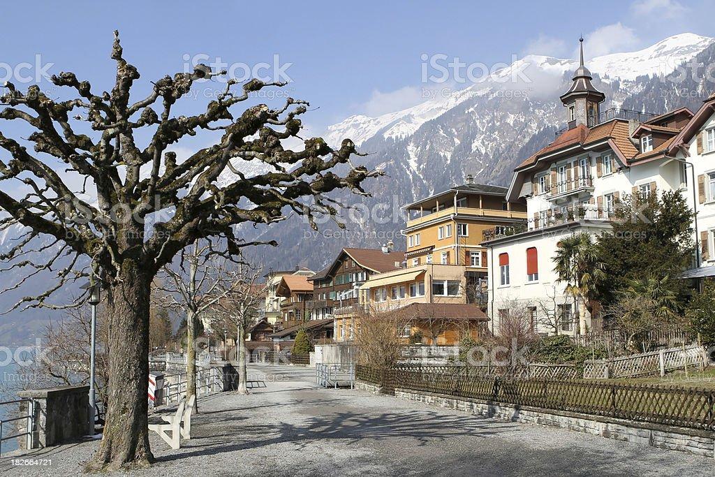 Promenade beside the lake at Brienz, Berne Canton, Switzerland royalty-free stock photo