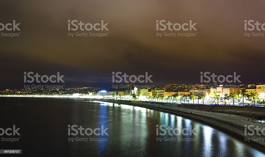 Promenade des Anglais at night, French Riviera royalty-free stock photo