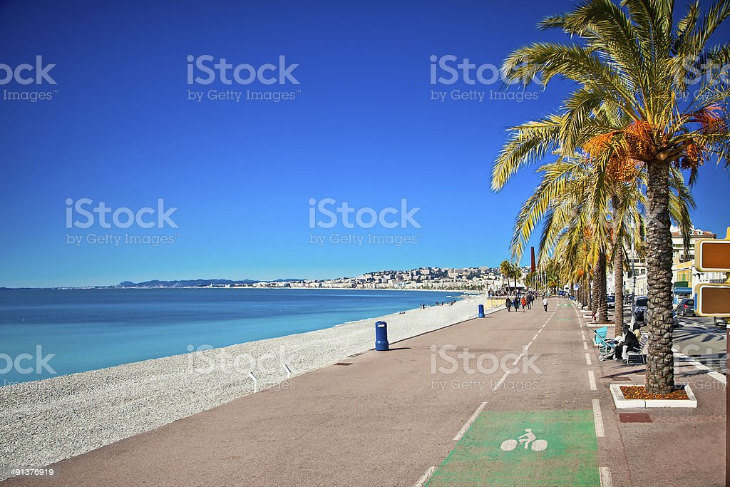 Promenade des Anglais in Nice, France. stock photo
