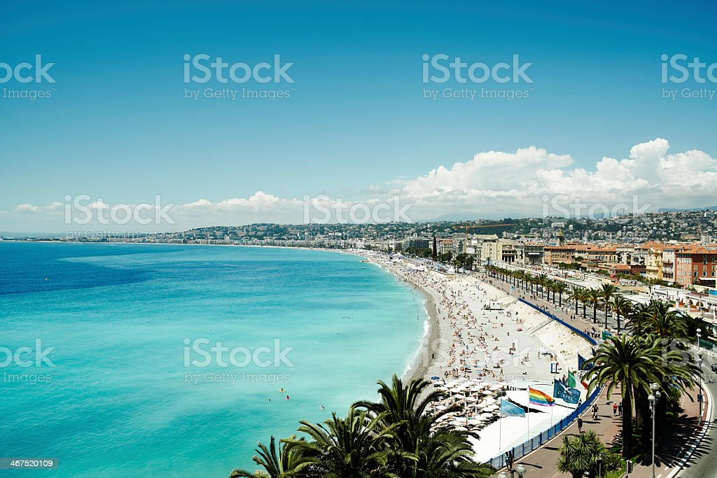 Promenade des Anglais under clear blue sky stock photo