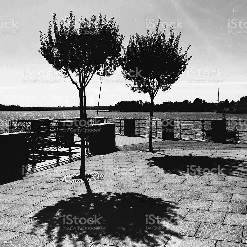 Promenade in Arona. black and White stock photo