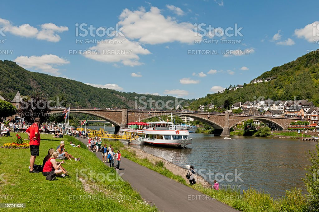 Promenade in Cochem on the Moselle stock photo