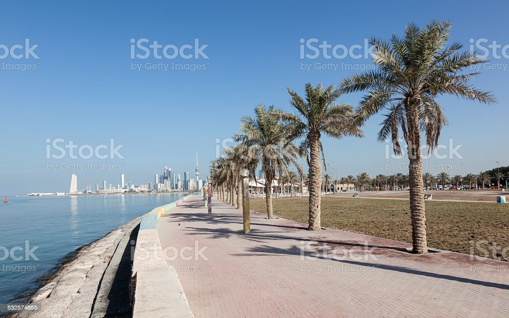 Promenade in Kuwait City stock photo