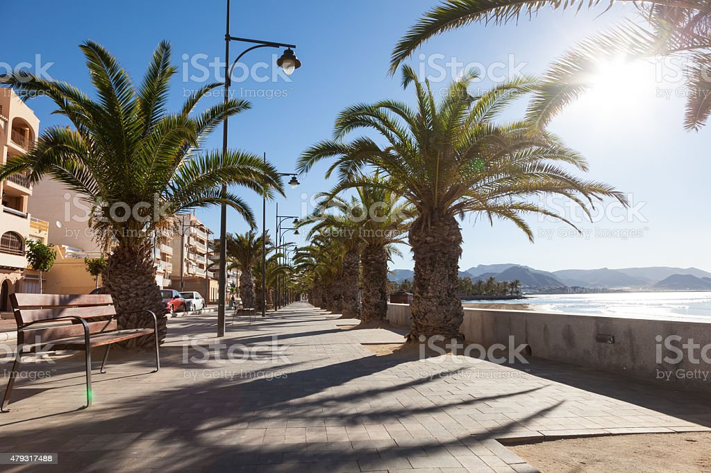 Promenade in Puerto de Mazarron, Spain stock photo