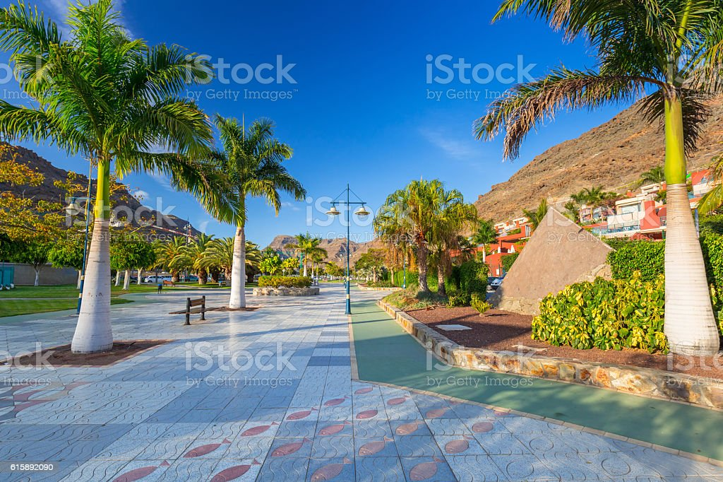 Promenade in Puerto de Mogan,  Gran Canaria, Spain. stock photo