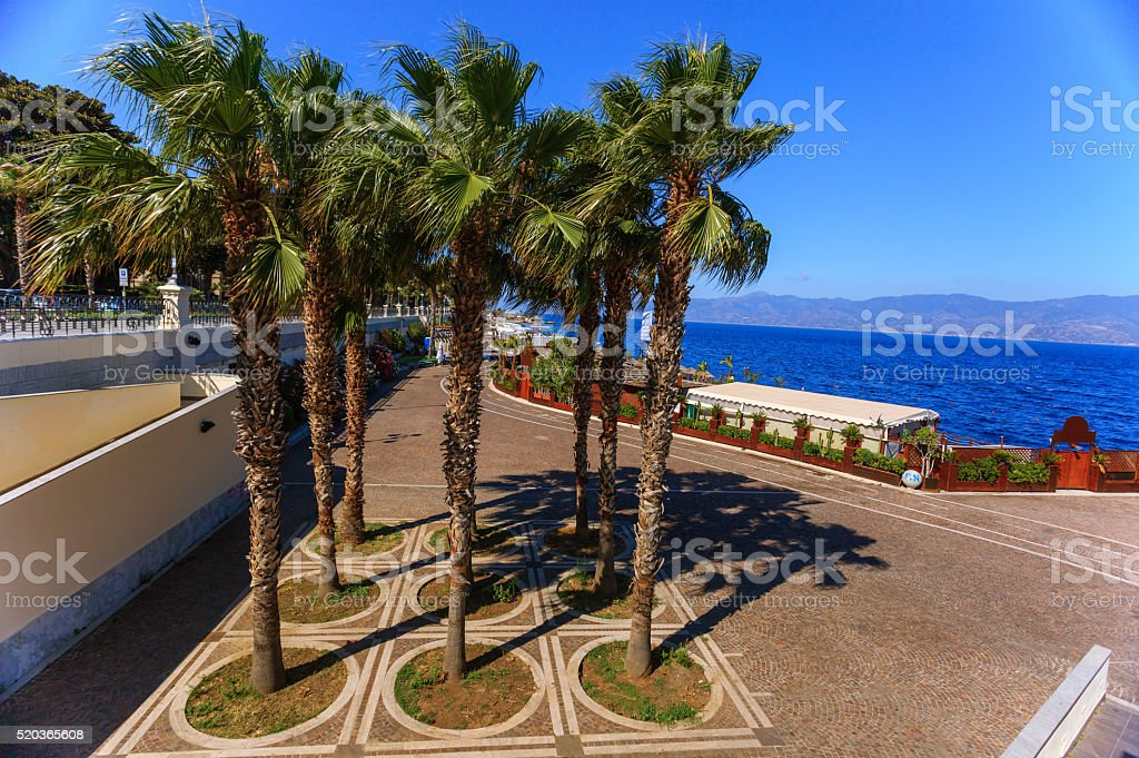 Promenade in Reggio Calabria stock photo