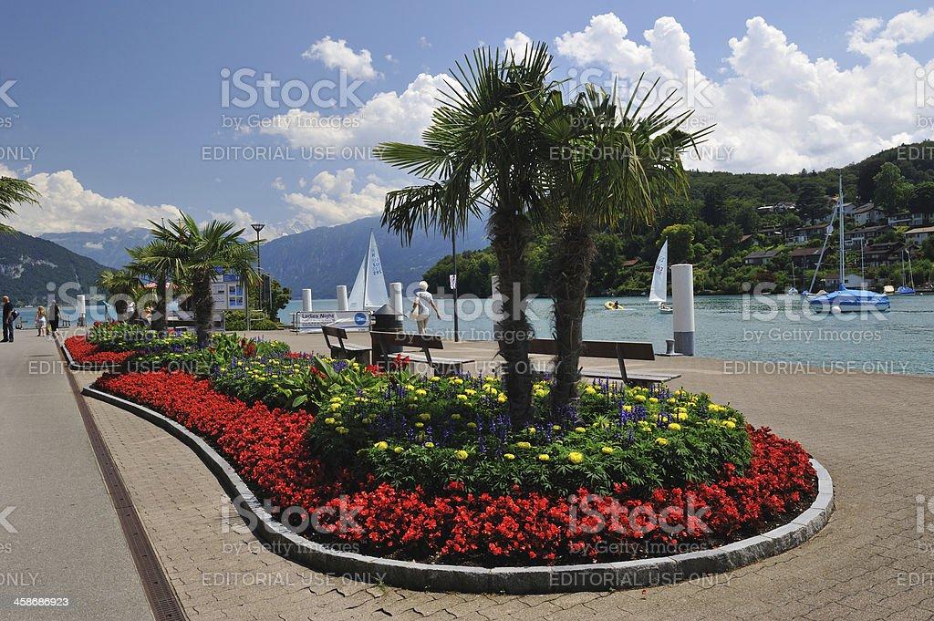 Promenade in Spiez royalty-free stock photo