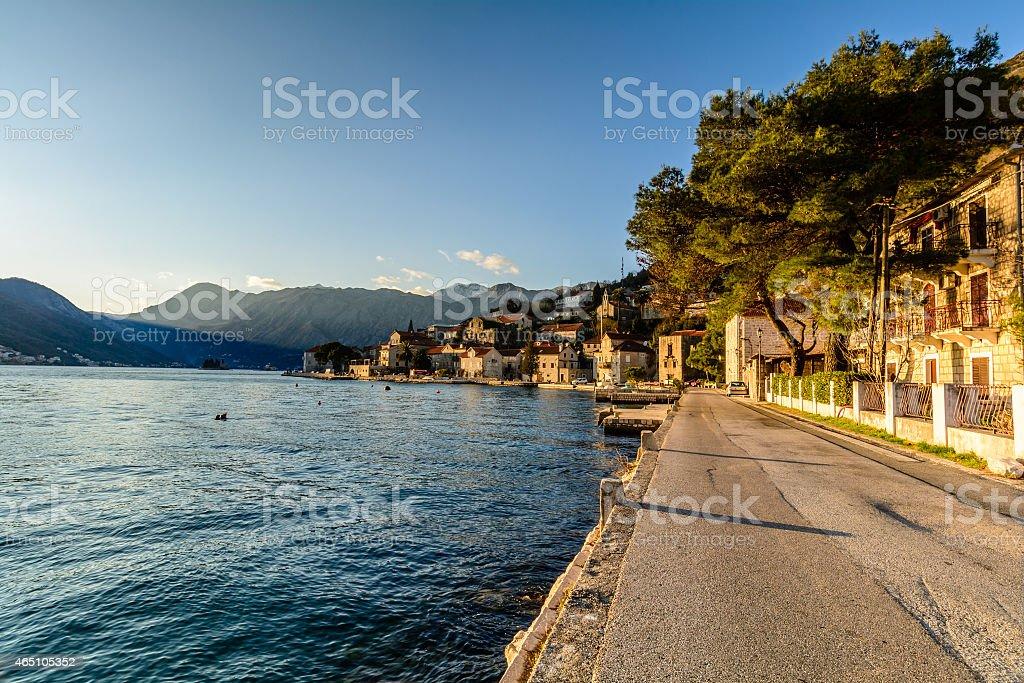 Promenade in the city of Perast, Montenegro stock photo