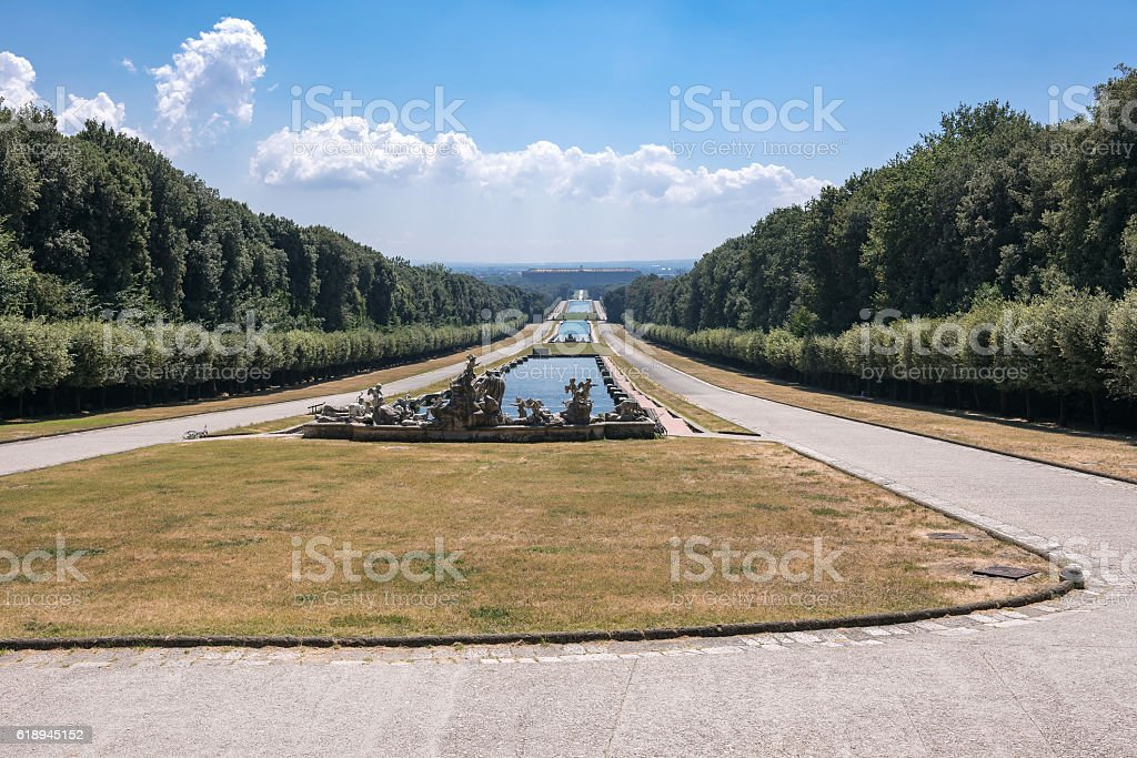 Promenade in the park at Royal Palace of Caserta stock photo