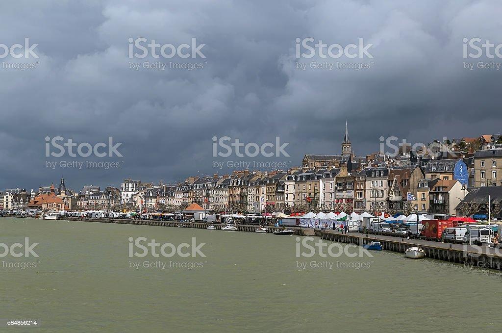 promenade in Trouville-sur-Mer, France stock photo