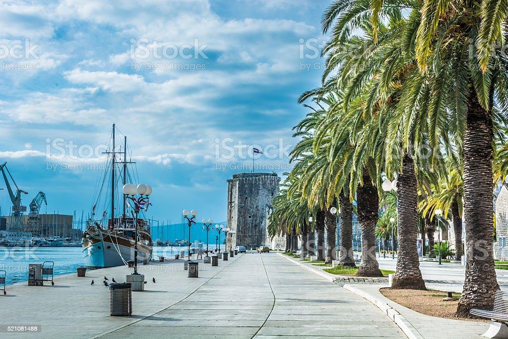 Promenade mediterranean Trogir Croatia. stock photo