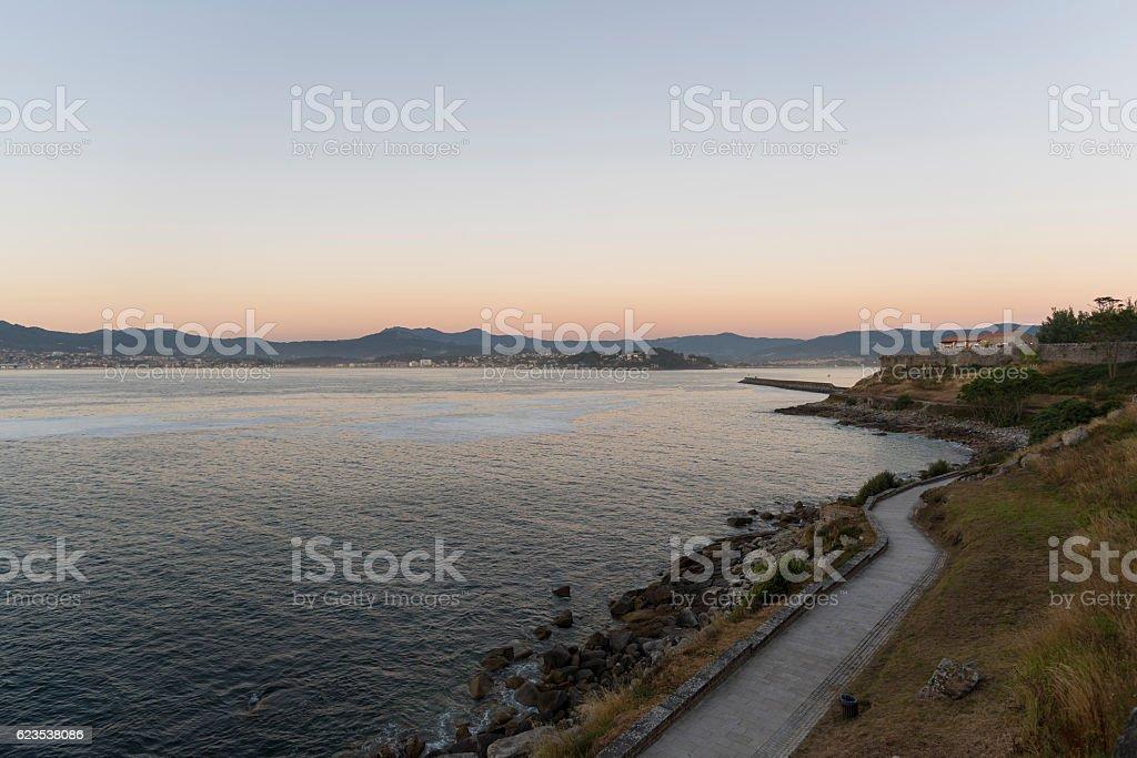 Promenade of Baiona. stock photo