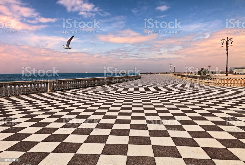 Promenade of Livorno, Tuscany, Italy stock photo