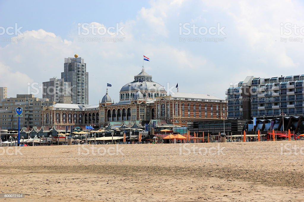 Promenade of Scheveningen on a sunny afternoon. The Hague, Netherlands. stock photo