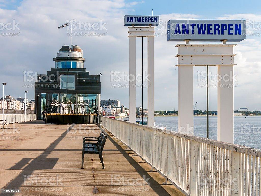 Promenade Schelde quay in Antwerp, Belgium stock photo