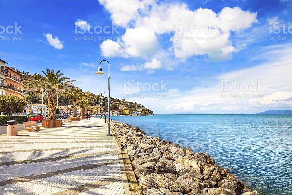 Promenade seafront in Porto Santo Stefano, Argentario, Tuscany, Italy. royalty-free stock photo
