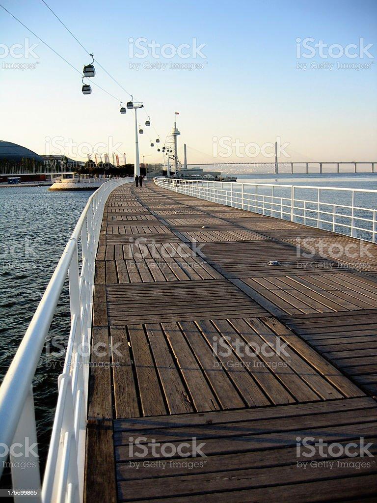 Promenade towards Vasco da Gama Bridge in Lisbon (Portugal) royalty-free stock photo