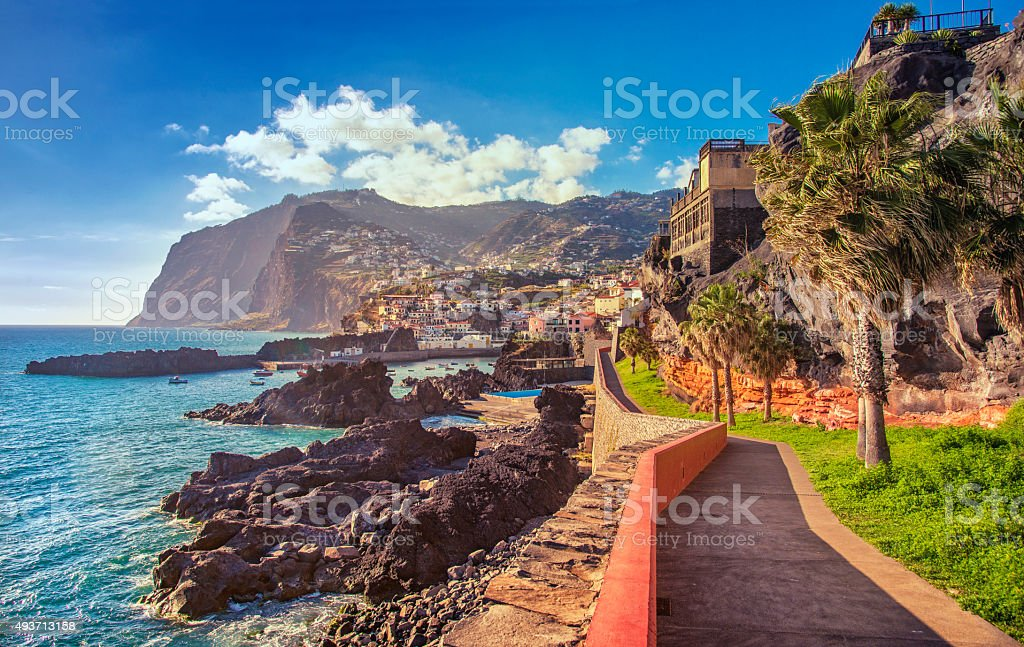 Promenade walk into Camara de Lobos, Madeira stock photo