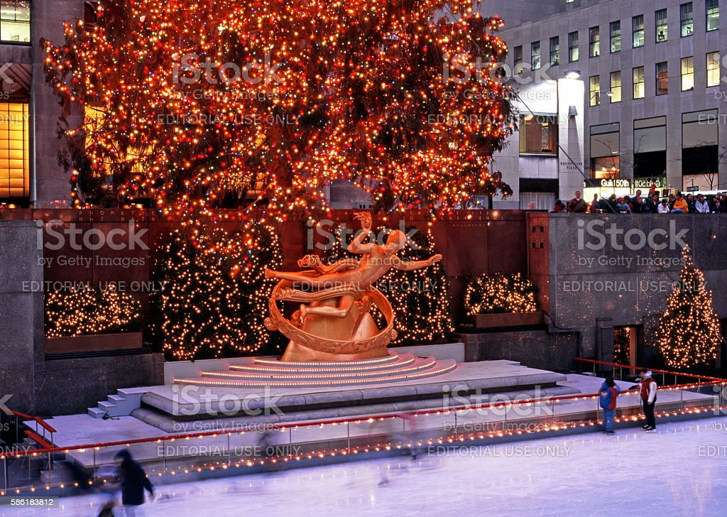 Prometheus statue at Christmas, New York. stock photo